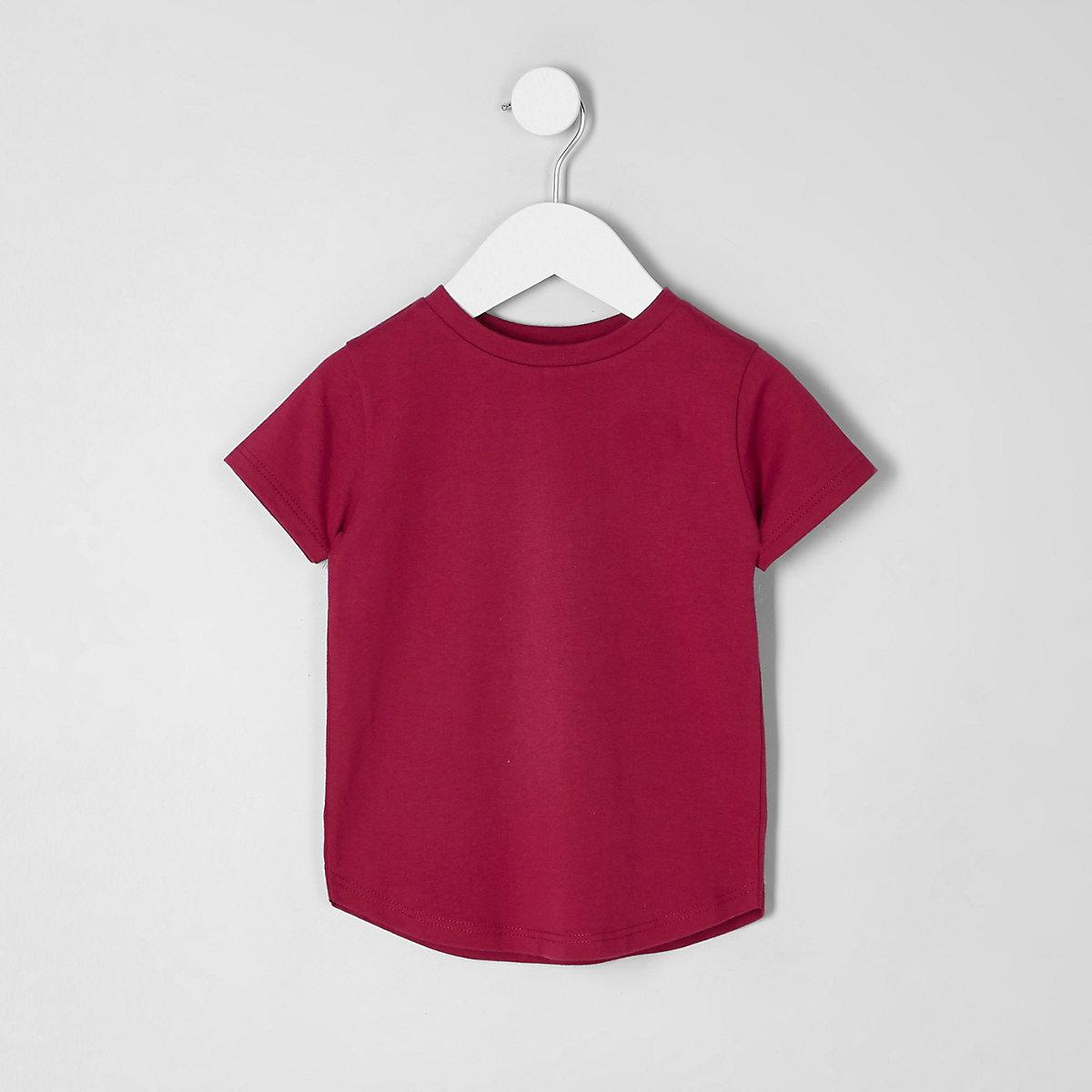 Mini boys dark pink curved hem T-shirt