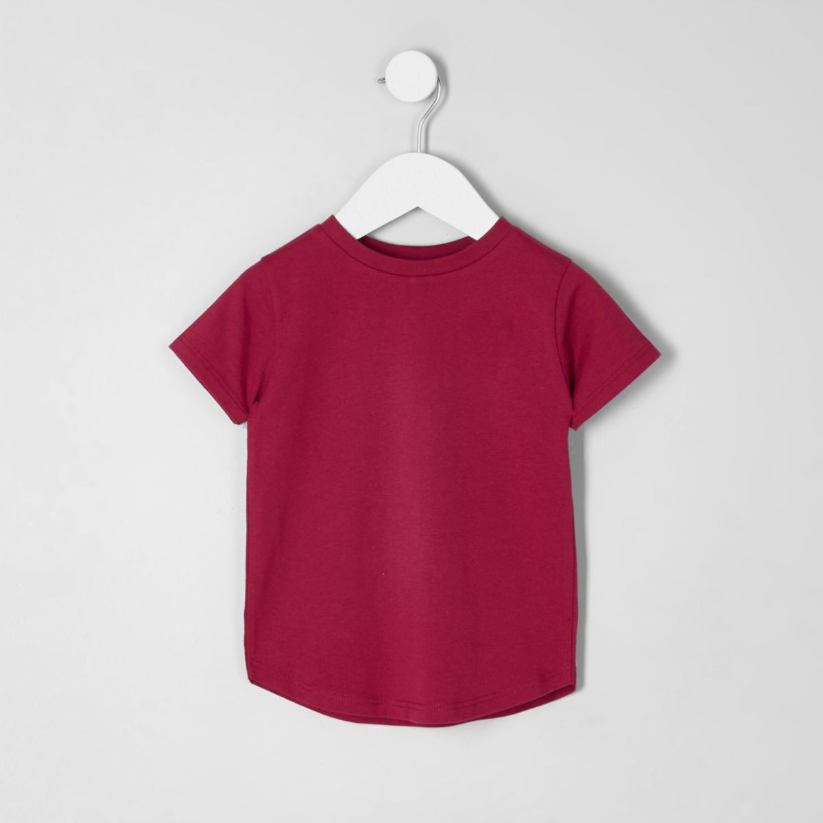 Mini boys dark pink curved hem T-shirt