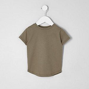 Mini - Kakigroen T-shirt met ronde zoom voor jongens