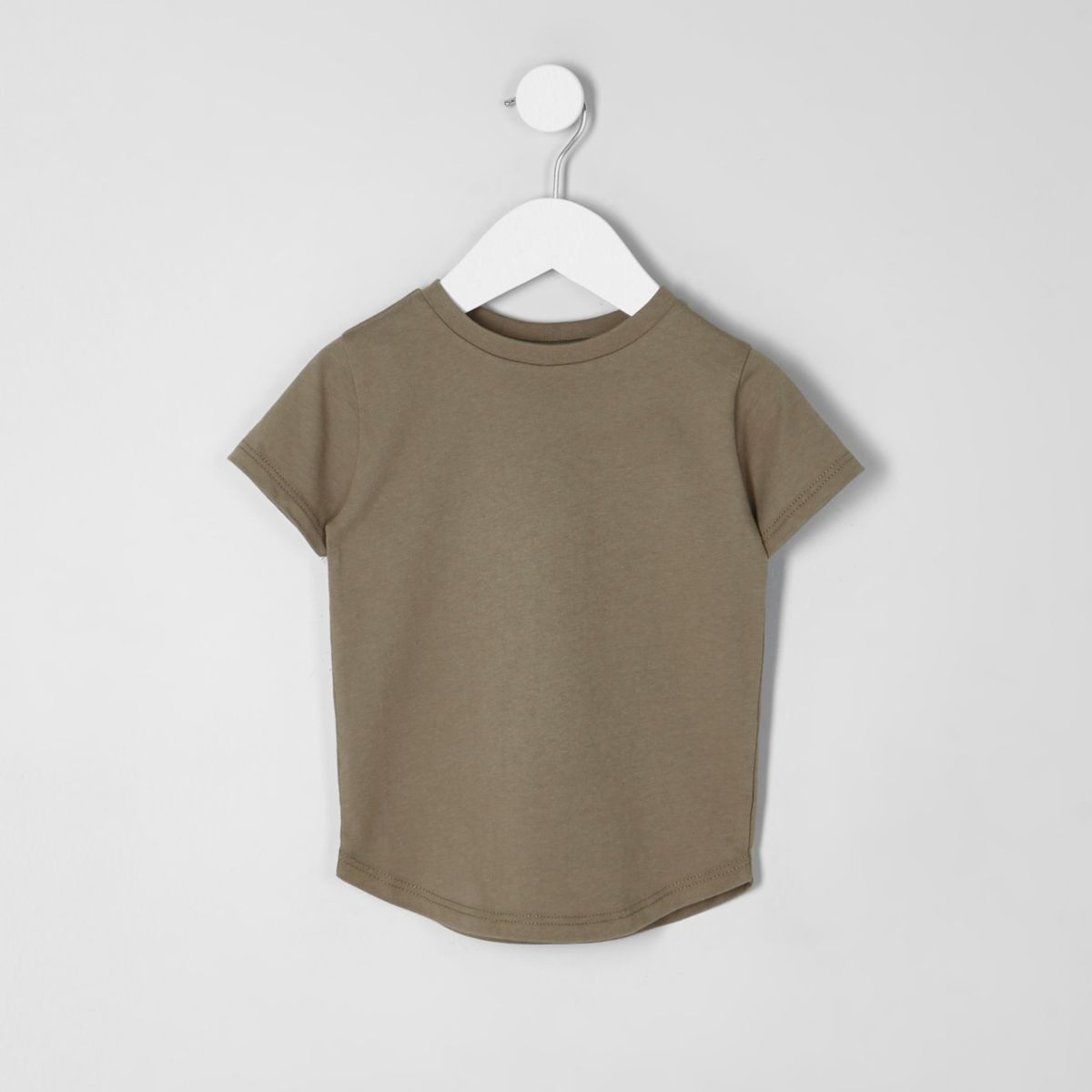 Mini boys khaki green curved hem T-shirt