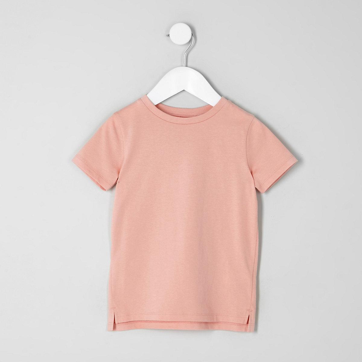 Mini boys pink crew neck T-shirt
