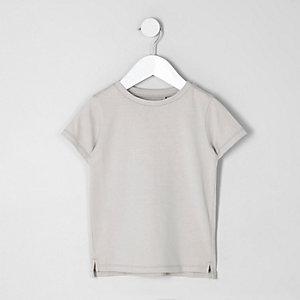 Mini - Kiezelkleurig T-shirt met ronde hals voor jongens