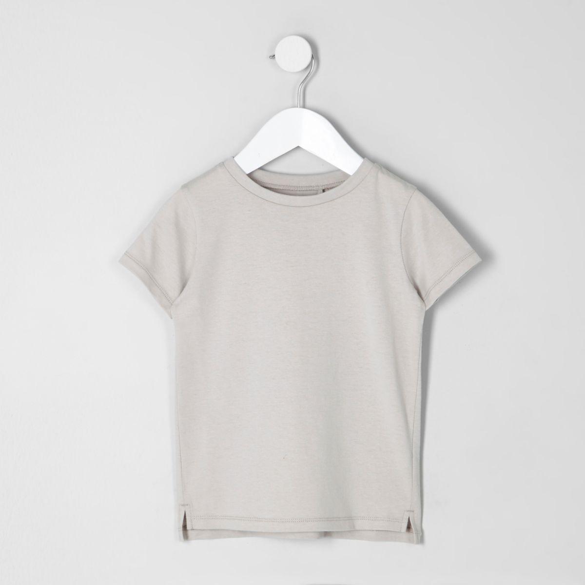 T-shirt ras du cou grège mini garçon