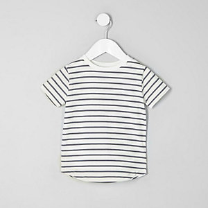 Mini boys white stripe crew neck T-shirt