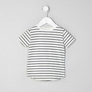 Mini - Wit gestreept T-shirt met ronde hals voor jongens