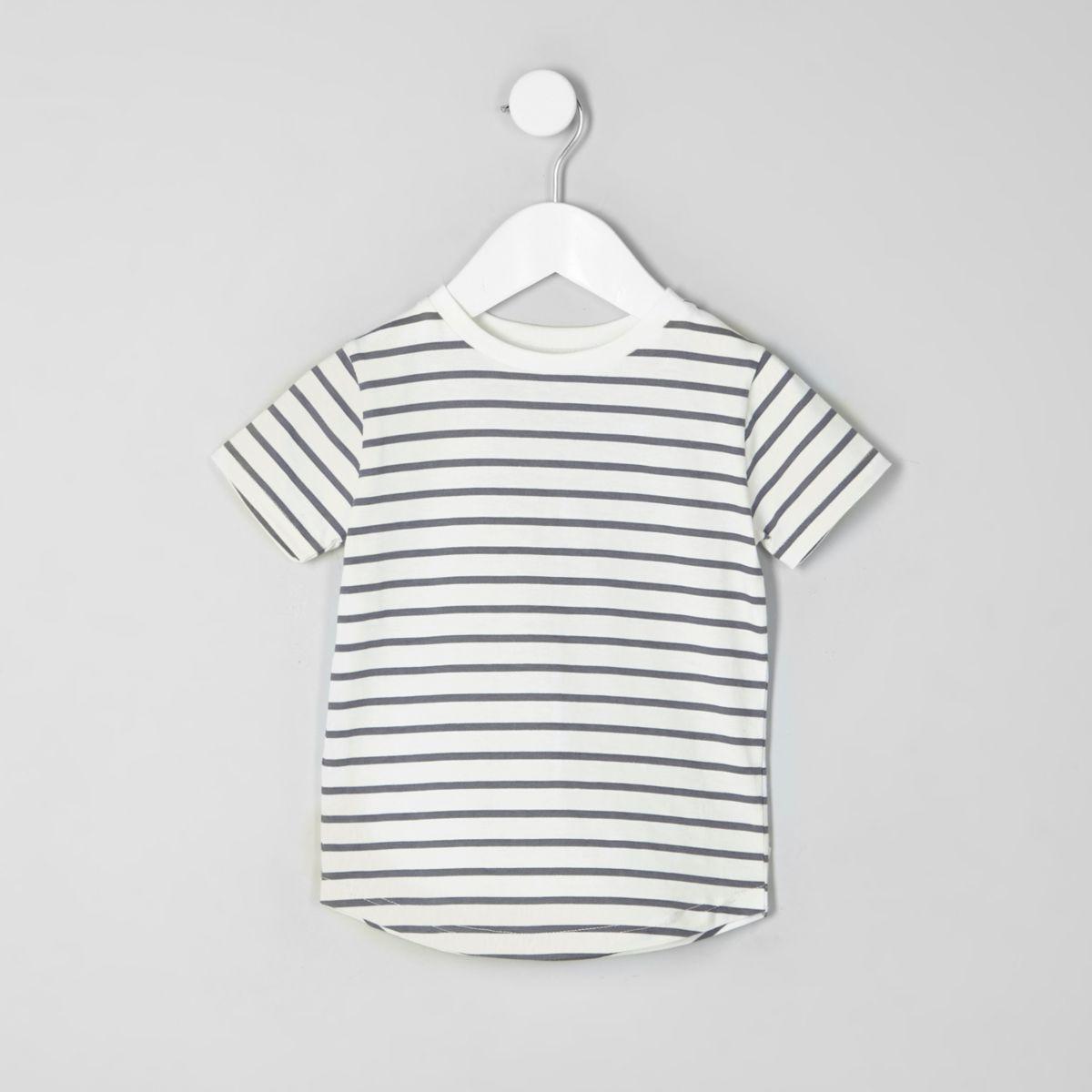 Mini boys white stripe crew neck T-shirt
