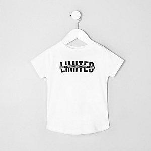 T-shirt blanc à ourlet arrondi avec inscription « limited » mini garçon