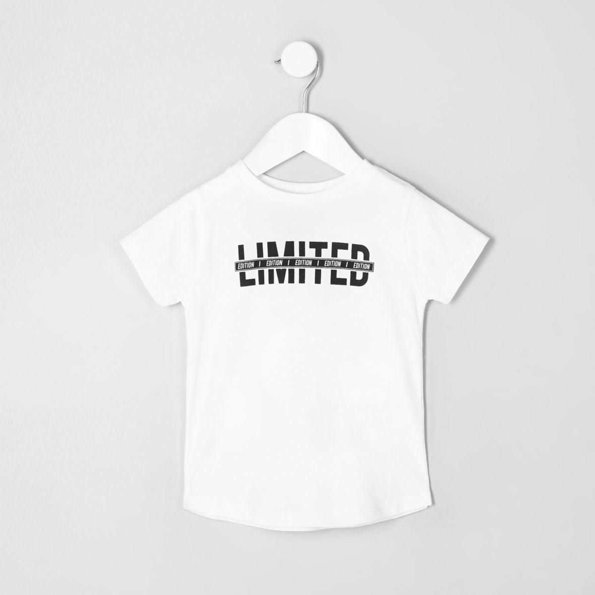 Mini boys white 'limited' curved hem T-shirt