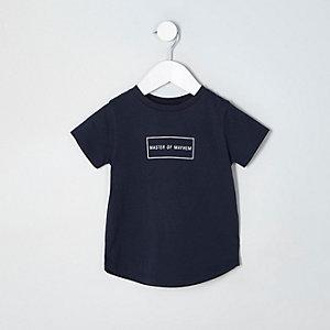 Mini - Marineblauw T-shirt met 'master of mayhem'-print voor jongens