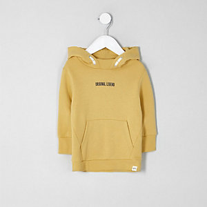 Mini boys mustard yellow 'legend' hoodie