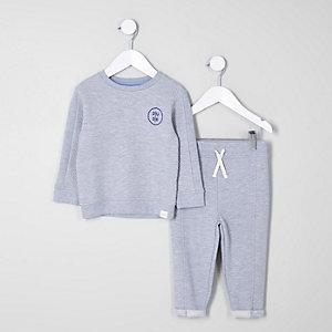 Mini - Grijze outfit met doorgestikt sweatshirt voor jongens