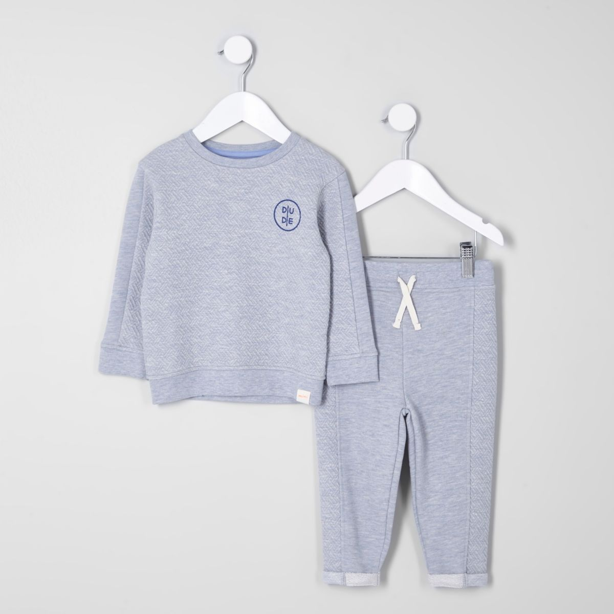 Mini boys grey quilted sweatshirt outfit