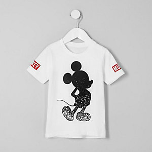 Mini boys white 'Mickey Mouse' print T-shirt