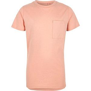 Hellrosa T-Shirt mit Brusttasche