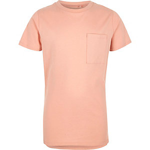 Boys light pink chest pocket T-shirt