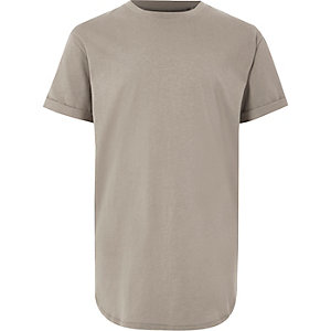 Steingraues T-Shirt mit abgerundetem Saum