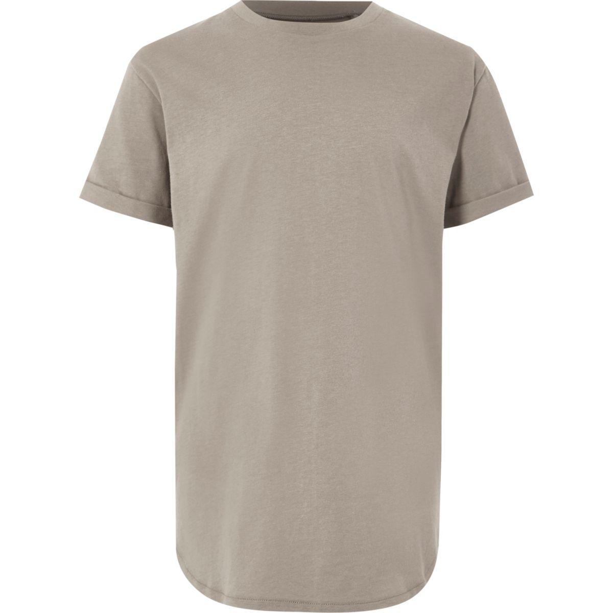 Boys stone curved hem T-shirt