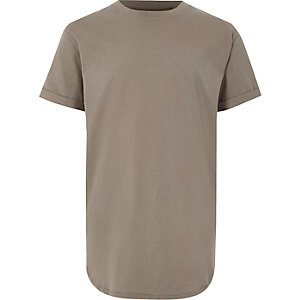 T-shirt kaki à ourlet arrondi pour garçon