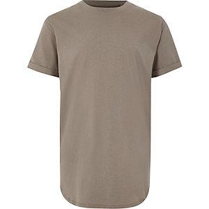 Kaki T-shirt met ronde zoom voor jongens