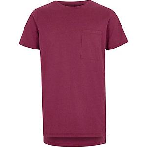 Bessenrood T-shirt met zakje voor jongens