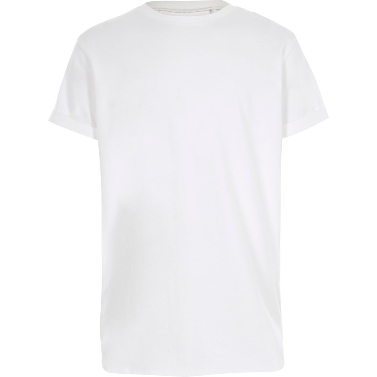 Boys white curved hem longline T-shirt