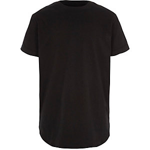 Boys black curved hem longline T-shirt