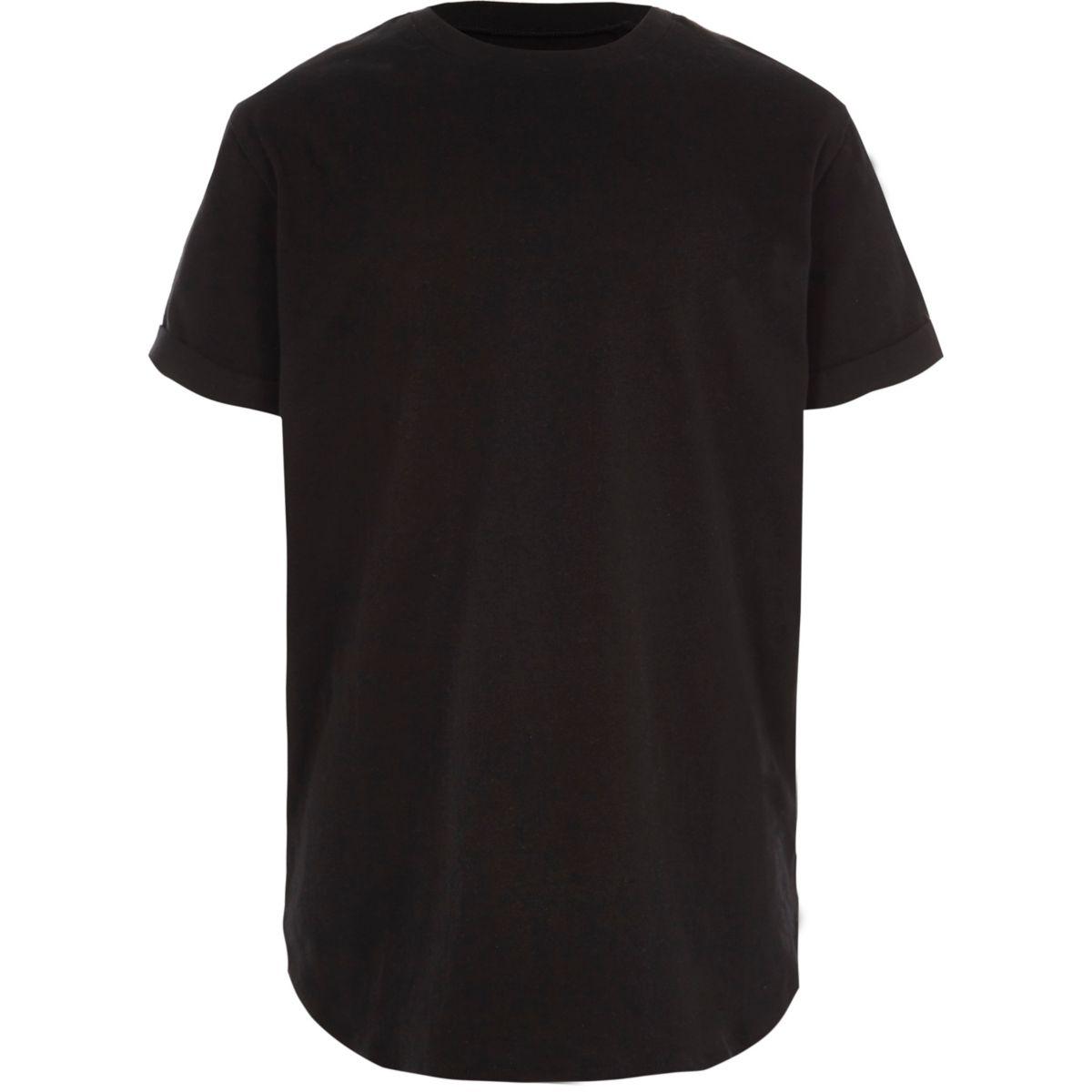 T-shirt long noir à ourlet arrondi pour garçon
