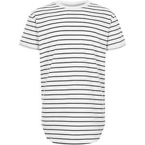 Boys white stripe crew neck longline T-shirt