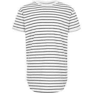 T-shirt long ras du cou rayé blanc