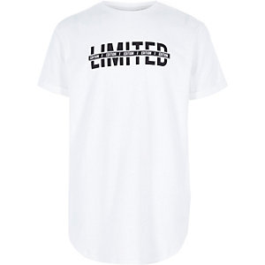 Boys white 'limited' print T-shirt