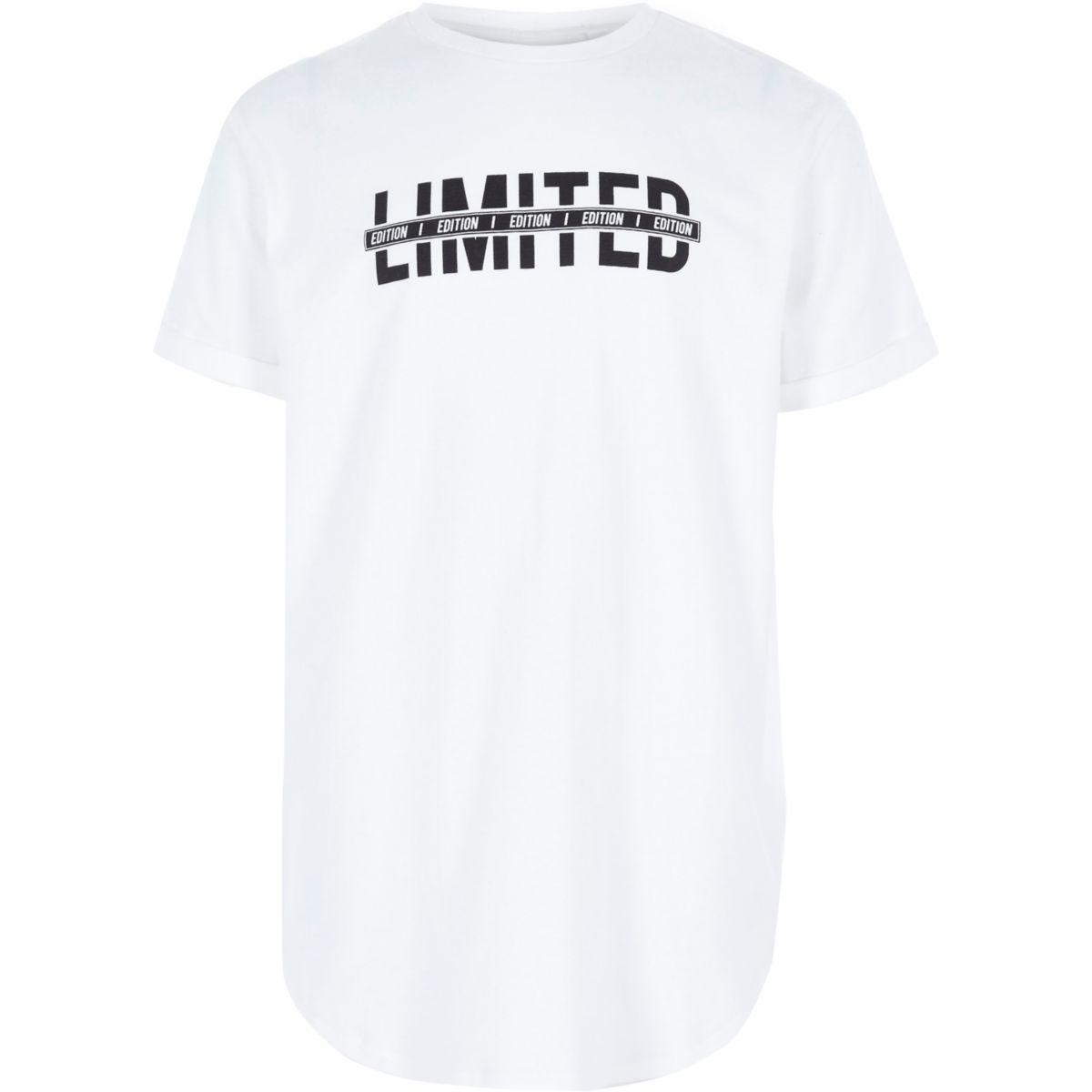 Boys white 'limited' print T-shirt