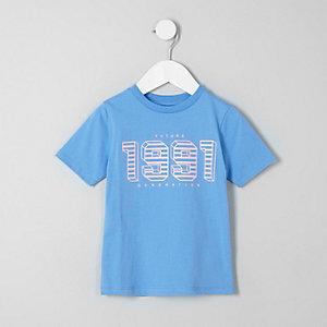 Mini - Blauw T-shirt met '1991'-print voor jongens