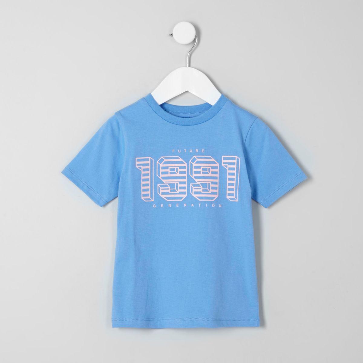 Mini boys blue '1991' print T-shirt
