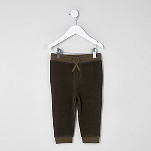 Mini boys khaki green soft joggers