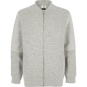 Boys grey textured block bomber jacket