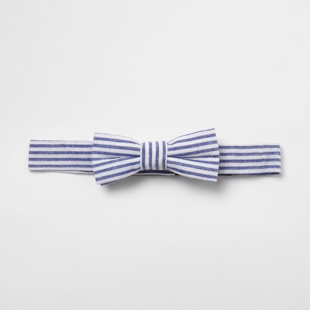 Mini boys blue seersucker stripe bow tie