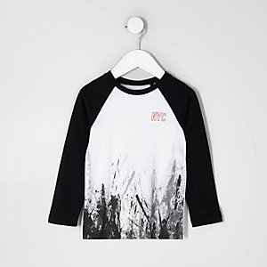 Mini boys smudge 'NYC' raglan sleeve T-shirt
