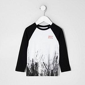 Mini - Gevlekt T-shirt met 'NYC'-print en raglanmouwen voor jongens