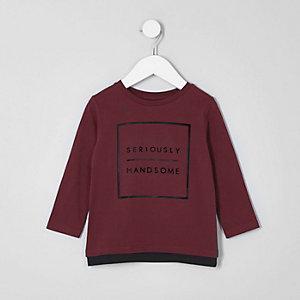 Mini - T-shirt met 'Handsome'-print en lange mouwen voor jongens