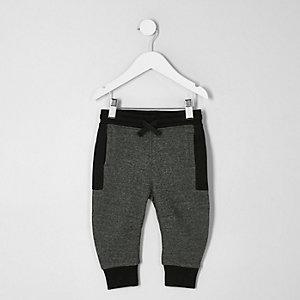 Mini - Grijze joggingbroek met kleurvlakken en paneel voor jongens