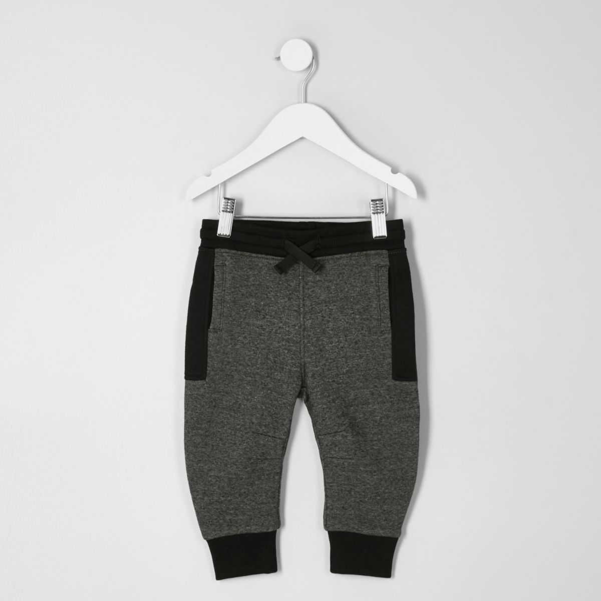 Mini boys grey block panel joggers