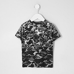 Mini boys camo foil splatter print T-shirt