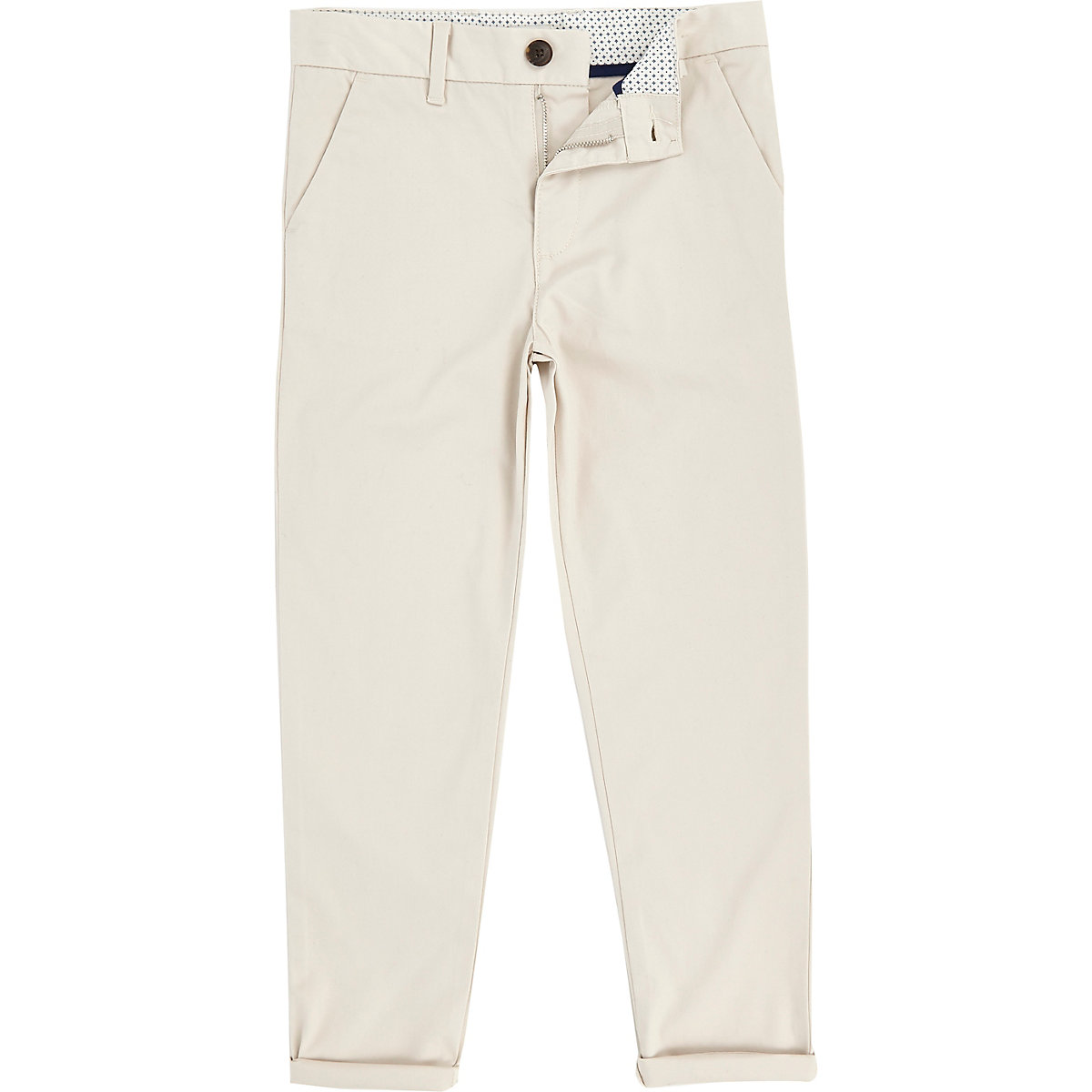 Boys stone Dylan slim fit chino trousers
