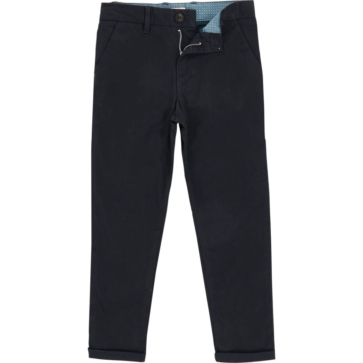 Boys navy Dylan slim fit chino trousers