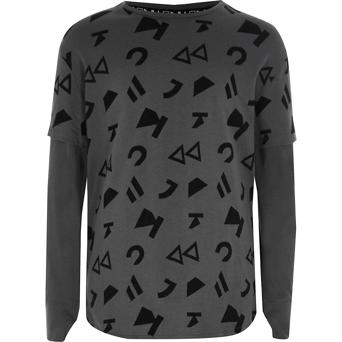 RI Studio – T-shirt gris à symbole et effet de superposition