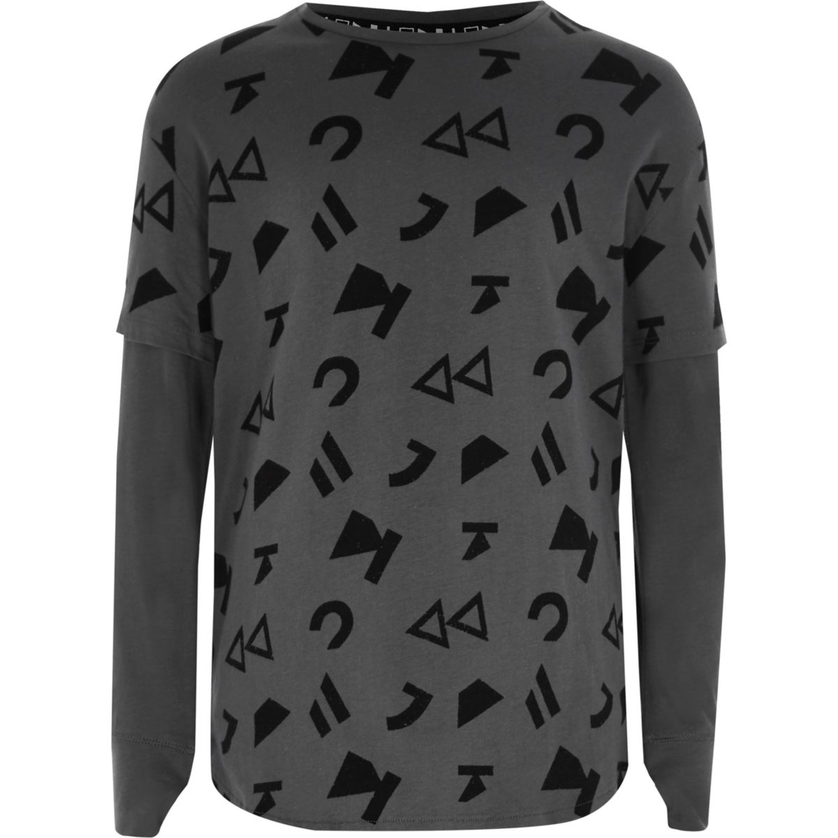 Kids grey RI studio symbol layered T-shirt