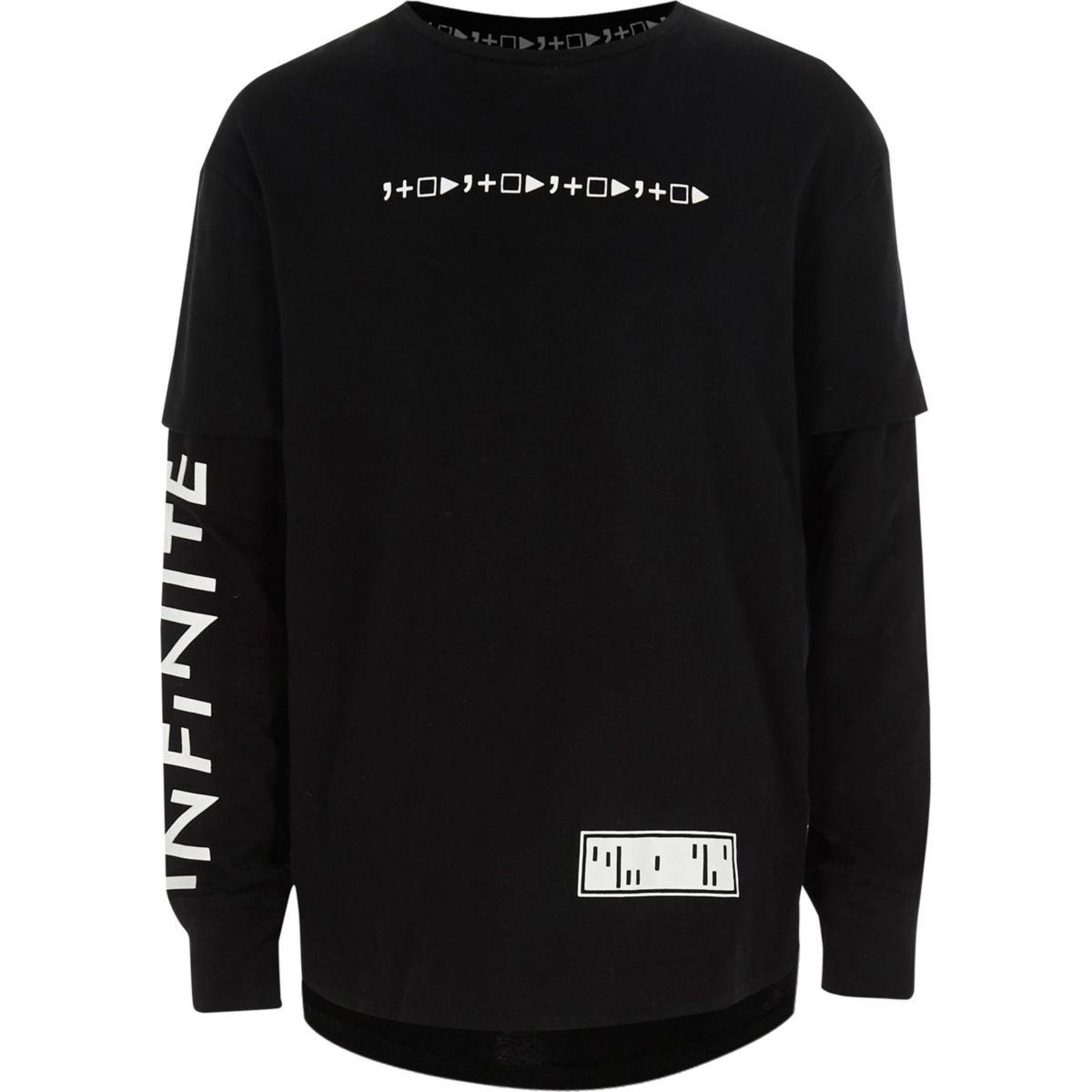 Kids black RI Studio symbol layered T-shirt