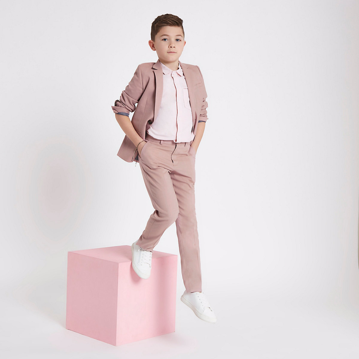 Boys pink slim fit suit pants