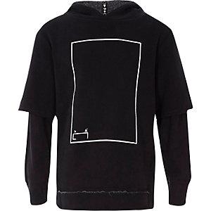 Zwarte hoodie met lagen en RI Studio-print voor kinderen