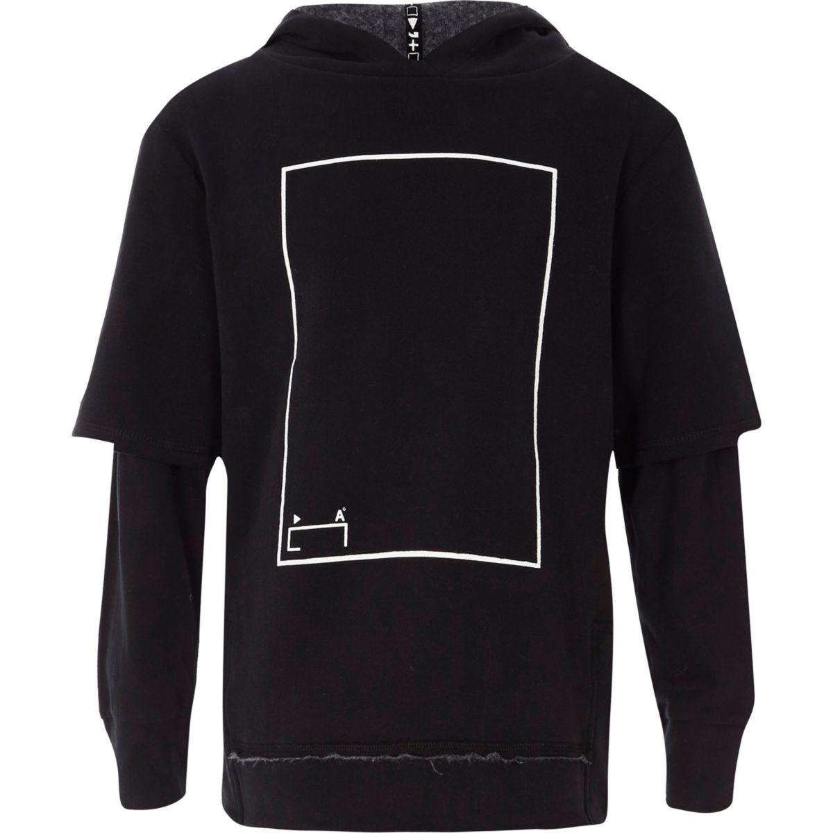 Kids black RI Studio printed layer hoodie